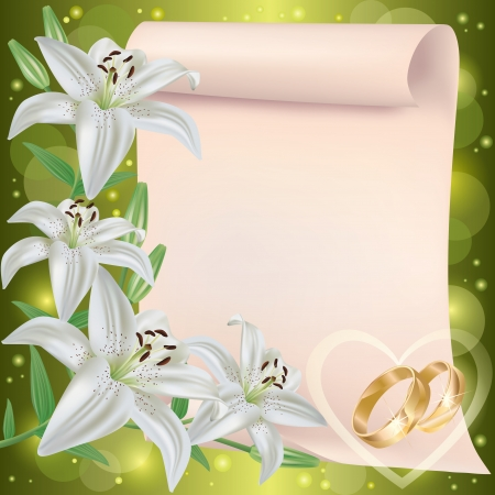 matrimony: Wedding invitation or greeting card with lily flowers, wedding rings and paper sheet - place for text, vector