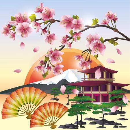 さくらの花日本桜の木、東洋の文化の象徴と日本の背景。日本の風景、ベクトル イラスト。