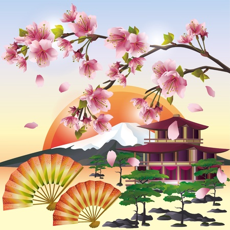 Japanese background with sakura blossom- Japanese cherry tree, symbol of oriental culture.  Japanese landscape, vector illustration. Vector
