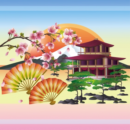japanese garden: Japanese background with sakura blossom- Japanese cherry tree. Symbol of oriental culture. Japanese landscape, vector illustration. Illustration