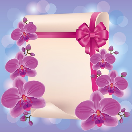 Greeting or invitation card with purple orchid, paper - place for text and ribbon with bow. Vector