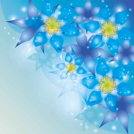 Abstract glowing background with exotic flowers blue-violet Vector