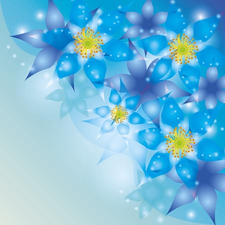 flores exoticas: Resumen de antecedentes brillantes con flores ex�ticas azul-violeta Vectores