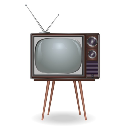 Realistic vintage TV isolated on white background, retro. Vector illustration