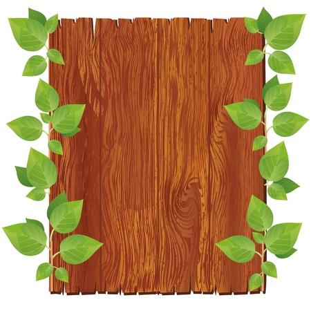 zomertuin: Houten bord met groene bladeren op een witte achtergrond. Vector illustratie