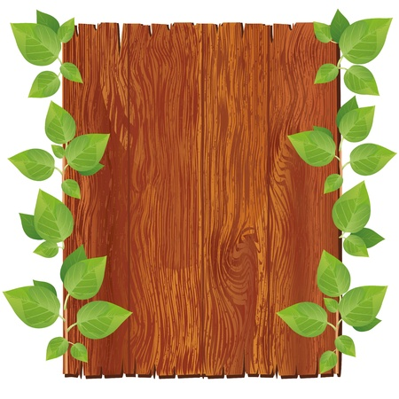 garden design: Wooden board with green leaves isolated on white background. Vector illustration