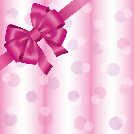 Greeting or invitation card with ribbon and bow, light pink background. Vector illustration Vector