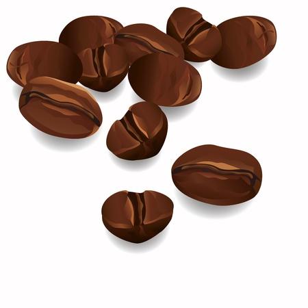 コーヒー豆の現実的な白い背景で隔離されたベクトルします。  イラスト・ベクター素材