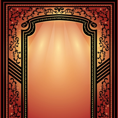Background with decorative arch and columns golden-dark red, elegance floral frame Vector
