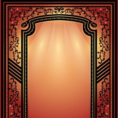 archway: Background with decorative arch and columns golden-dark red, elegance floral frame Illustration