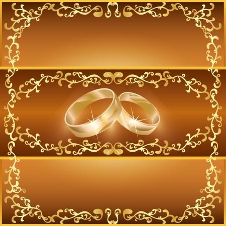 装飾的な飾りと 2 つの結婚指輪結婚式挨拶または招待状カード