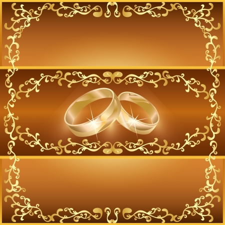 matrimony: Wedding greeting or invitation card with two wedding rings and decorative ornament Illustration