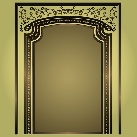 Decorative arch and columns golden-green, elegance floral frame, isolated Vector