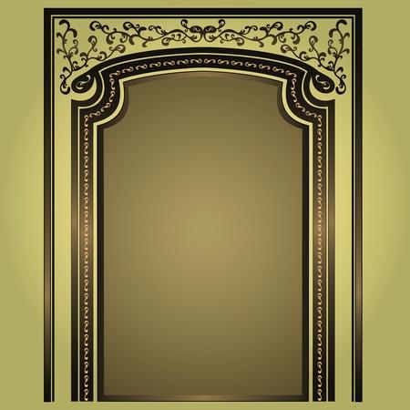 Arc décoratif et des colonnes d'or-vert, élégance floral frame, isolé