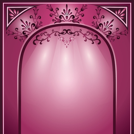 archway: Background with arch and decorative ornament, elegance floral frame Illustration
