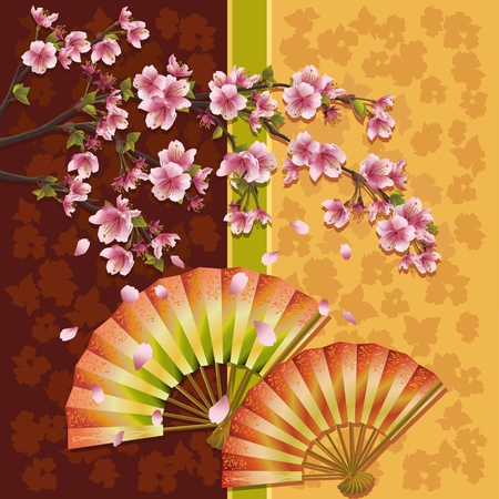 japanese background: Japanese ornamental background with two fans and sakura blossom- Japanese cherry tree, symbol of oriental culture, vector illustration
