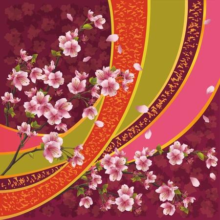 flor de sakura: Oriental de fondo ornamental con flor de sakura - árbol de cerezo japonés y la cinta con el patrón, ilustración vectorial