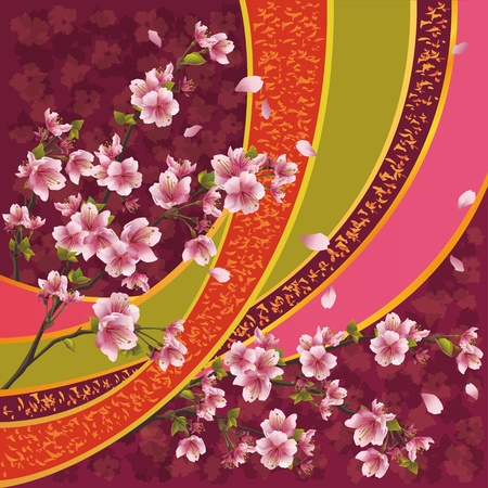 Oriental ornamental background with sakura blossom - Japanese cherry tree and ribbon with pattern, vector illustration