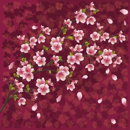 桜の花のパターン、ベクトル図を持つ日本の桜の木とオリエンタル装飾的な背景