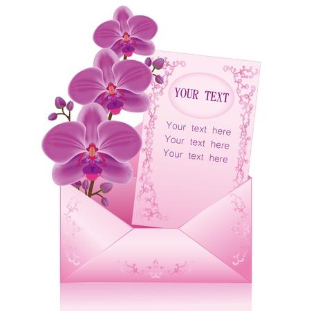 Groet of uitnodiging kaart met paarse orchidee en papier - plaats voor tekst in de envelop, geïsoleerd op een witte achtergrond. Vector illustratie