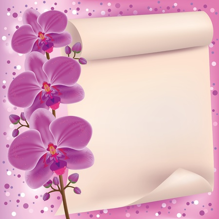 Invitation or greeting card with exotic flower purple orchid and paper - place for text Vector