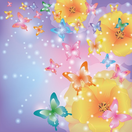 exotic butterflies: Abstract glowing background with flowers california poppies and colorful butterflies Illustration