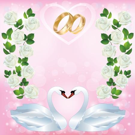 2 つの白い白鳥、結婚指輪と光のピンクのウェディング挨拶または招待状カードは白いバラの飾り装飾されています。テキストを配置します。ベクトル イラスト