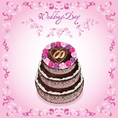 Wedding greeting or invitation card with celebratory cake, decorated roses and wedding rings. Light pink background with ornamental pattern. Vector illustration. Vector