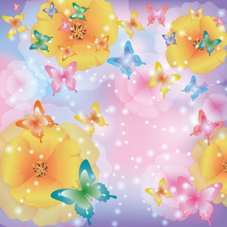 rainbow cartoon: Floral summer background abstract with flowers california poppies and colorful butterflies. Beautiful glowing greeting or invitation card