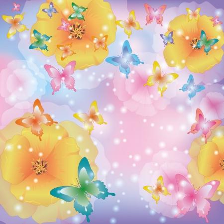 cartoon rainbow: Verano floral fondo abstracto con flores amapolas de California y coloridas mariposas. Hermoso saludo encendida o tarjeta de invitaci�n