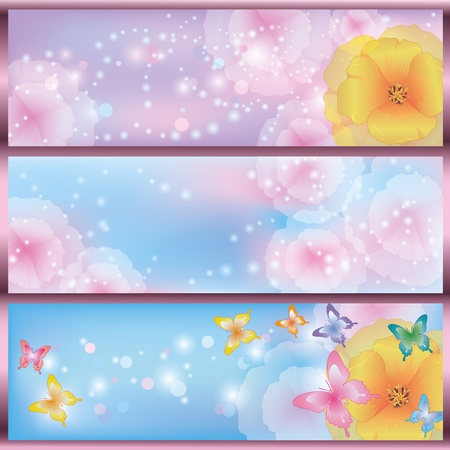 Set of horizontal glowing floral banners with flowers California poppies and butterflies. Greeting or invitation card Vector