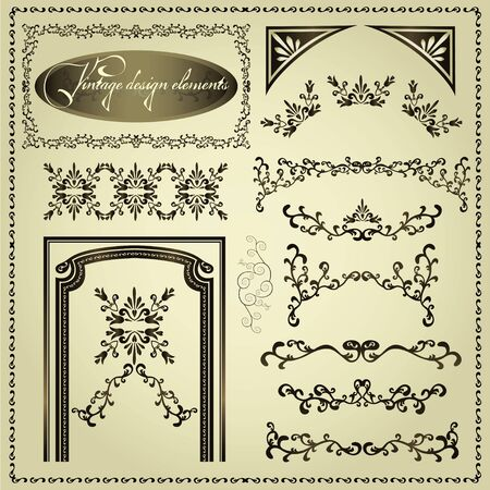 accent: Set of luxury decorative vintage elements and borders