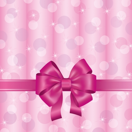 Greeting or invitation card with pink ribbon and bow, light background, decorated stars and circle.