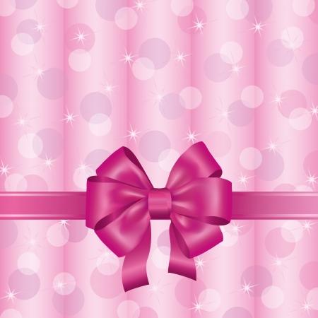 moño rosa: Saludo o tarjeta de invitación con la cinta rosa y arco, fondo claro, las estrellas y el círculo decoradas. Vectores