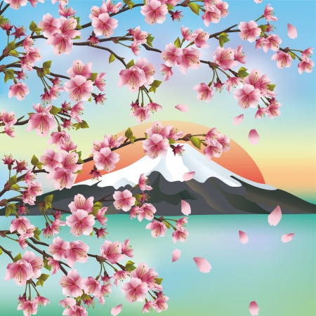 Japanese background with mountain and sakura blossom- Japanese cherry tree, symbols of oriental culture. Beautiful Japanese landscape,illustration.  Vector