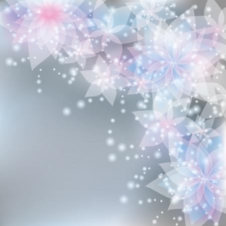 光の繊細な花ユリと抽象的な花の背景。レトロやグランジ スタイルで挨拶や招待状カードテキストを配置します。図