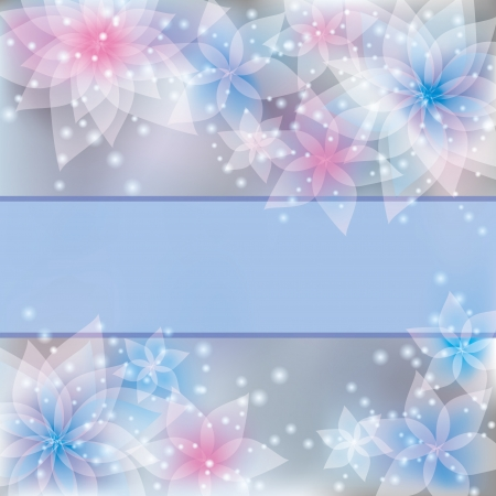Greeting or invitation card in retro or grunge stile. Abstract floral background with light blue - pink delicate flowers lilies. Place for text Vector