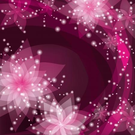 白とピンクの花ユリと抽象的な花の背景。レトロやグランジ スタイルで挨拶や招待状カードテキストを配置します。ベクトル イラスト