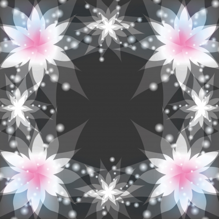 Abstract floral gray background with white flowers lilies. Greeting or invitation card in retro or grunge stile. Place for text.  Vector