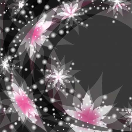 Abstract floral gray background with white and pink flowers lilies. Greeting or invitation card in retro or grunge stile. Place for text.  Vector