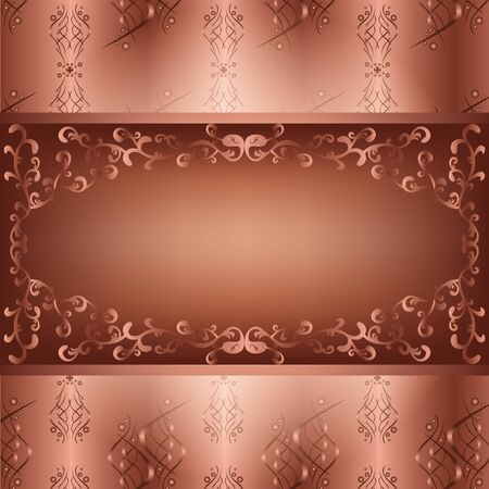 Ornamental chocolate background with seamless pattern in vintage or retro style. Board decorated ornament, place for text.  Vector