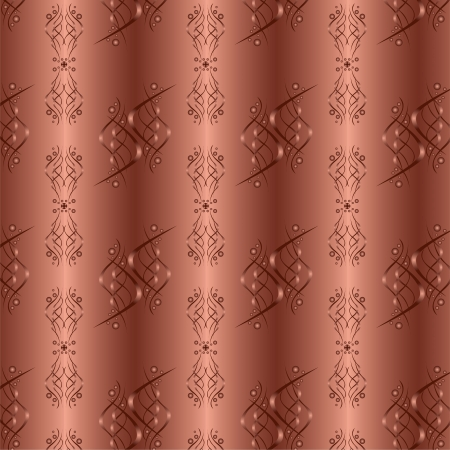 Ornamental chocolate-golden background with seamless pattern in vintage or retro style. Decorative ornament.  Vector