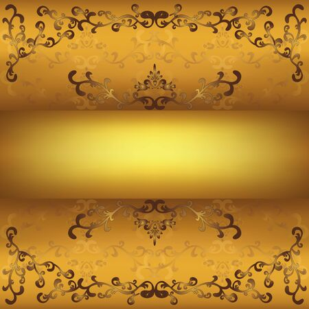 Ornamental golden background with floral pattern in vintage or grunge style, place for text. Vector
