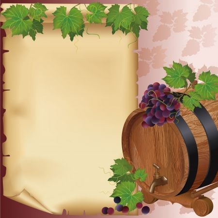 ワインの背景に現実的なブドウ、バレル、古い紙