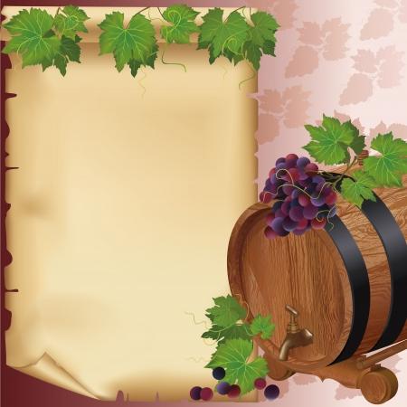 Fundo do vinho com uva realista, o barril e papel velho Ilustração