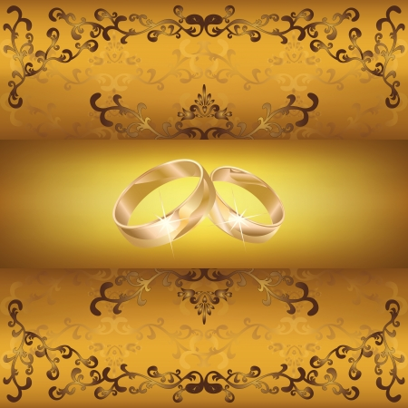 Wedding greeting or invitation card with two wedding rings and golden decorative ornament,  retro or vintage style Vector