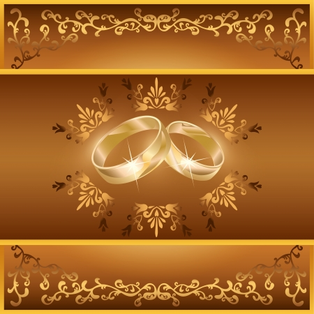 Wedding invitation or greeting card with two wedding rings and decorative golden ornament, vintage or retro style   Vector