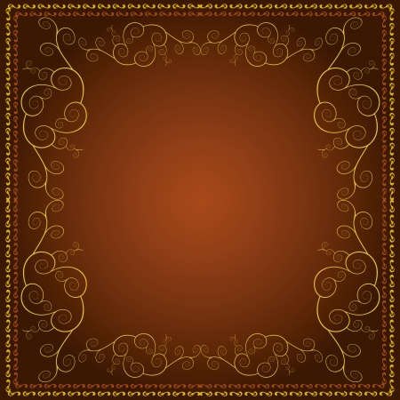 Brown background with decorative golden ornament in vintage or retro style Stock Vector - 14207774