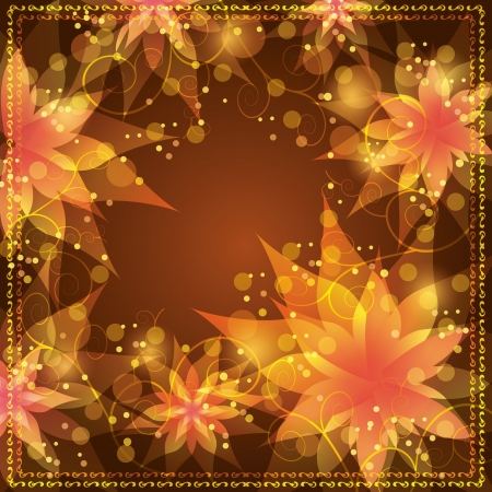 Floral background with flowers lilies and decorative golden ornament  Invitation or greeting card in retro or grunge stile  Place for text Vector