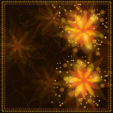 autumn leaf frame: Bright glowing floral background with flowers lilies and golden ornament  Greeting or invitation card in retro or grunge style     Illustration